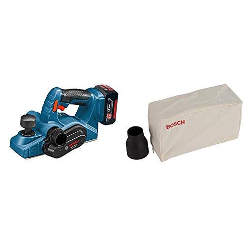 Bosch Professional 0.601.5A0.300 Cepillo (Sin batería y Sin cargador) 72 W, 18 V, Negro, Azul + Bosch 2 605 411 035  - Saco para polvo