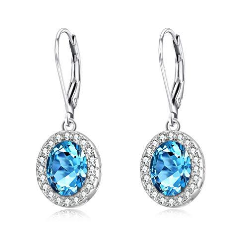 Pendientes de plata de ley para mujer, color aguamarina, ovalados, con cristales, joyería fina para mujeres y niñas