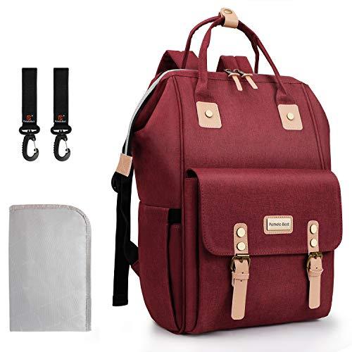 Pomelo Best Baby Wickelrucksack mit Wickelunterlage und Haken Wickeltasche Rucksack für Mama und Papa unterwegs