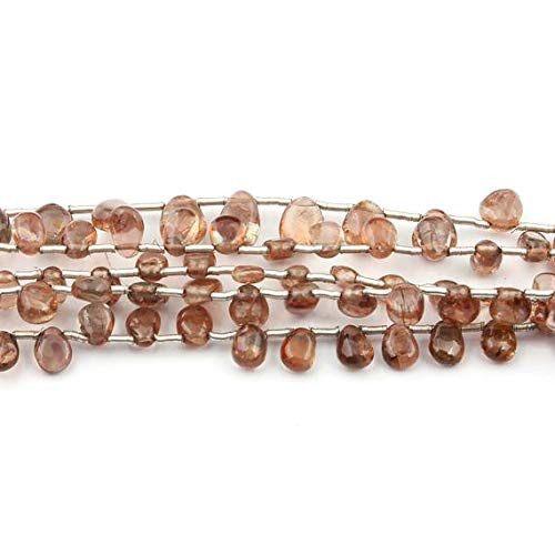 LKbeads 5 Stränge natürlicher Hessonit glatte Seitenbohrer Birnentropfen Briolettes – einfache Perlen 5 mm x 3 mm x 7 mm x 4 mm, Code-HIGH-15110