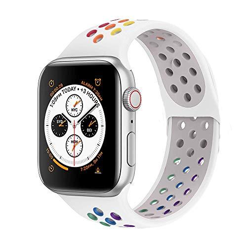 VIKATech Ersatz Armbänder für Apple Watch Armband 40mm 38mm, Weiche Silikon Ersatz Armbänder für iWatch Armband Series 5/4/3/2/1, S/M, Pride