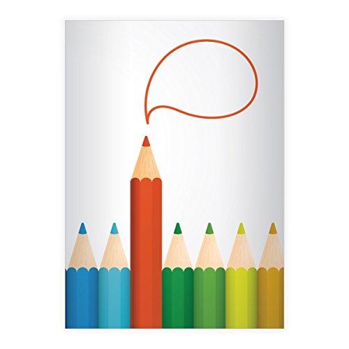 Kartenkaufrausch chique, kleurrijke ideeën DIN A5 schoolschrift, rekenschrift met dodle patroon envelop binnenin liniatuur 10 (geruit boek) modern . 8 Schulhefte wit