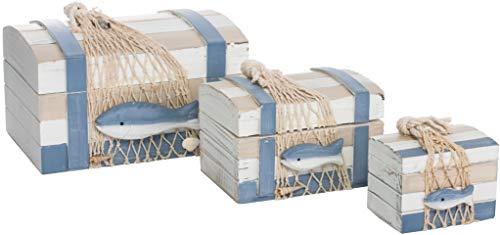 Brandsseller Juego de 3 baúles decorativos, cajas de madera, estilo playa, con accesorios marítimos, color azul y blanco