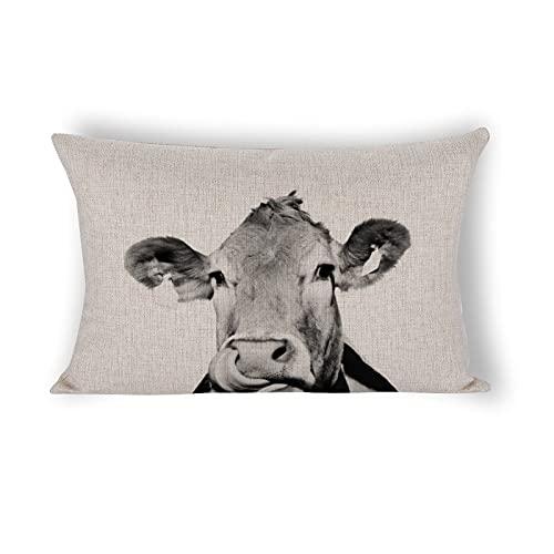Funda de almohada de 50,8 x 76,2 cm, foto de vaca, color blanco y negro, funda de almohada decorativa de lino de algodón para sofá, ropa de cama y decoración del hogar