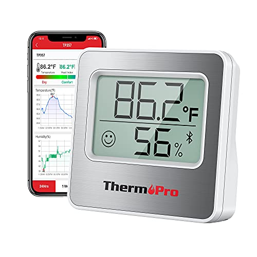 ThermoPro TP357 260FT Bluetooth Hygrometer Room Thermometer for Home with Remote Temperature and Humidity Monitor & Smart APP, Temperature Humidity Sensor Gauge with Max Min Records, Silver