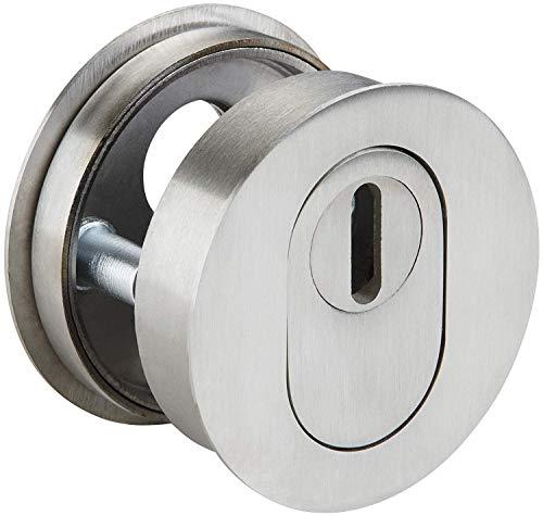 Gedotec Sicherheitsrosette Haustür-Schutzrosette mit Kernziehschutz | Flach 1 mm hoch | Zylinder-Rosette Edelstahl matt | PZ - Profil-Zylinder | 1 Paar - Design Tür-Rosetten rund für Schließzylinder