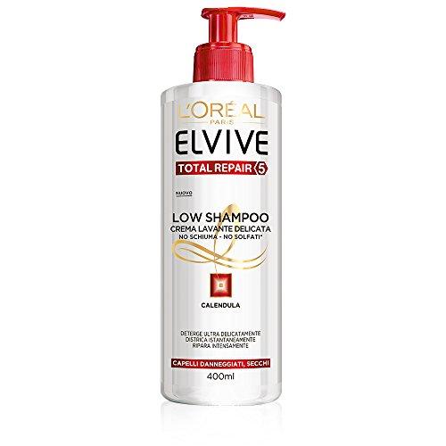 L'Oréal Paris Elvive Low Champú Total Repair 5 – Champú suave sin espuma y sin sulfatos para cabello dañado o cubos, paquete de 6 x 400 ml