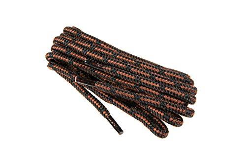 Runde Schnürsenkel für Arbeitsschuhe, Gesundheitsschuhe und Sicherheitsschuhe - robustes Gewebe, von Worker Walker Laces Pro, 1 Paar (9176 - schwarz mit braun / 120 cm - 47 zoll)