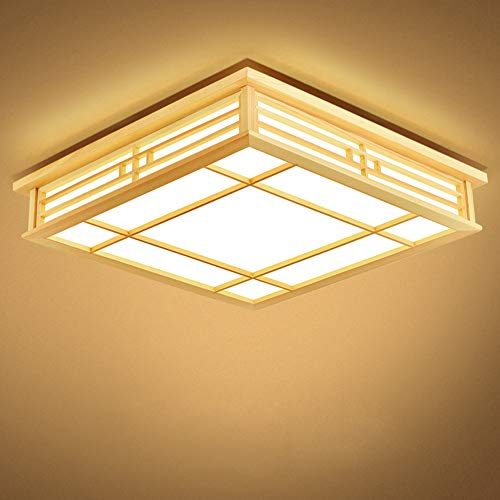LED houten plafondlamp vierkant design massief hout woonkamerlamp plafondlamp slaapkamer lamp warmwit 3000 K voor woonkamer balkon keuken eettafel plafondlamp binnenverlichting