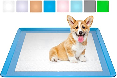 Skywin Dog Puppy Pad Holder Tray - No Spill Pee Pad Holder for Dogs - Wee Wee Pad Holder Works with Most Training Pads, Easy to Clean and Store (1 Pack, Dark Blue)