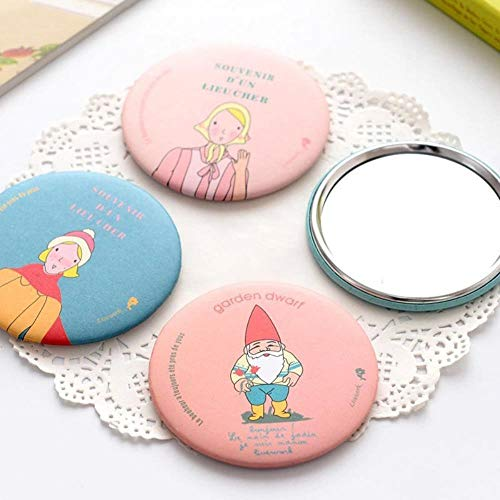 LASISZ Lady Makeup Mirror Cartoon Pattern Portable Compact Pocket Cosmetic Mirror for Quick Make-up Women Girls Gift