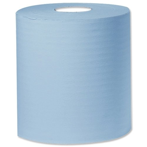Q-Connect C2B150 - Pack de 6 bobinas de papel industrial x 150 m, 2 capas, color azul