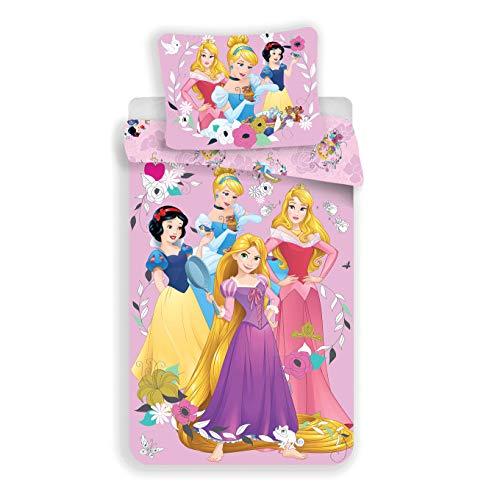 Disney Princesses - Parure copripiumino per bambine, 140 x 200 cm, federa 70 x 90 cm, 100% cotone