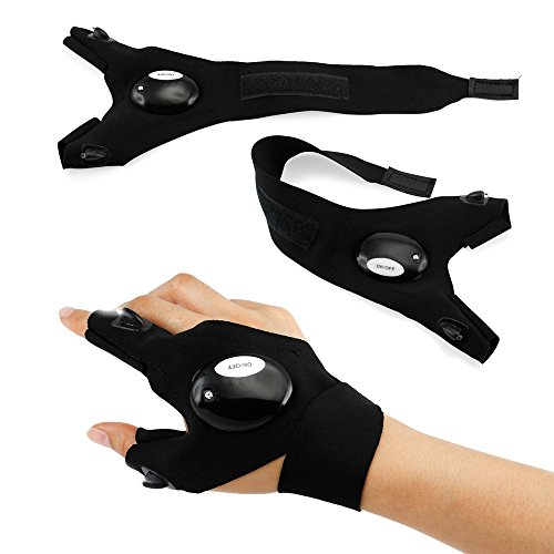 Oct17 Outdoor Activities Cycling Magic Strap Rescue Sporting Gloves 2 LED Flashlight Torch Handy Mechanic Tool - Right Hand
