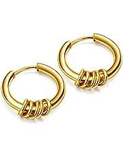 【セイヤインターナショナル】ピアス メンズ レディース 5連リング リング フープピアス フープ 両耳セット (ゴールド10mm)