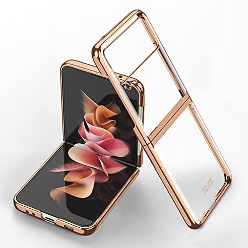 für Samsung Galaxy Z Flip 3 5G Transparente Hülle Überzug Rahmen Kristallklare PC Stoßfeste Schutzhülle (Gold)