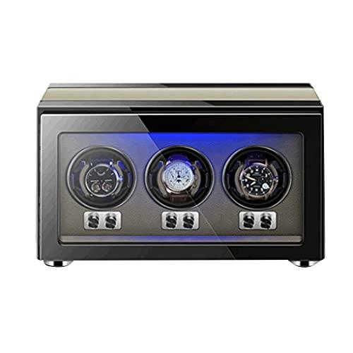 LRBBH Cajas Giratorias para Relojes para 3 Relojes Automáticos con Almohadas De Reloj Flexibles Carcasa Madera con Motor Silencioso LED Incorporado Iluminado Fácil Acceso