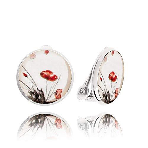 Schön Weiß mit Roter Mohnblume Ohrclips ohne Ohrlöcher Geschenke für Mädchen; Romantisch Klein Urlaub Ohrring Clip Dragon Porter; Durchmesser 1.4cm