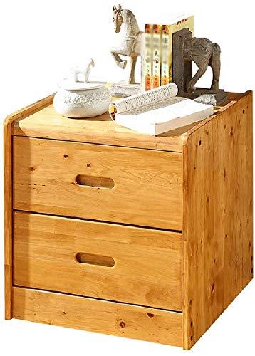 Deezu Table Basse Salon Table Salon Table de Chevet du tiroir 2 Tiroir 2, Table de cidre Naturelle/Table d'extrémité, Brun Chaud, 50 × 43 × 50 cm