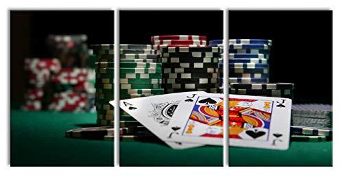 Pixxprint Pokertisch Las Vegas als XXL Leinwandbild in Übergröße 240x120cm Gesamtmaß 3 teilig/Wandbild/Kunstdruck