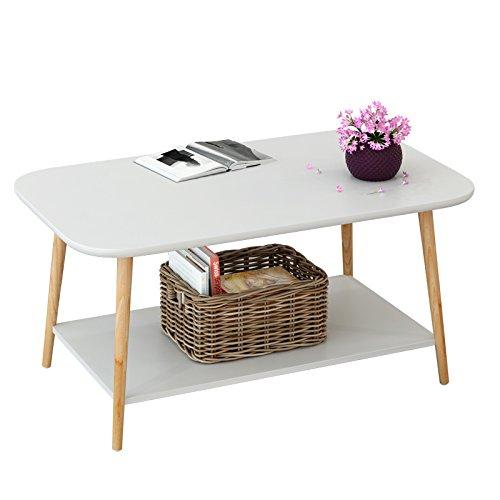 AJZGF Table basse style européen 2 table basse en bois petite table d'appoint canapé côté table chambre table de chevet Tablette (Color : White, Size : 100 * 48 * 49cm)