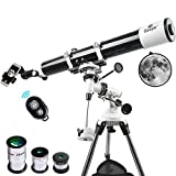 Gskyer Telescope, Astronomy Refractor Telescope, 80mm Aperture Travel Scope for Kids & Beginners - with Smartphone Adapter Wireless Camera Remote