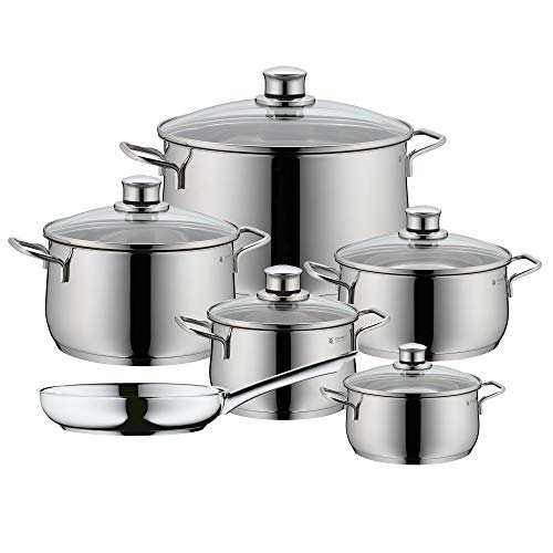 WMF Diadem Plus Cromargan Pot Set, Cast Iron, Silver, 61 x 33.5 x 27.5 cm