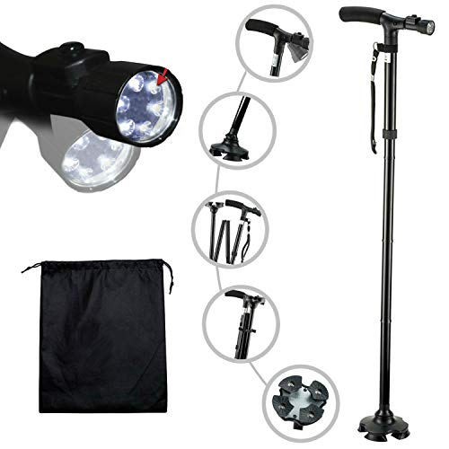 Travel Adjustable Folding Canes and Walking Sticks for Men and Women with Led Light and Cushion Handle for Arthritis Seniors Disabled and Elderly Best Mobility Aids Cane. Adjusts from 34
