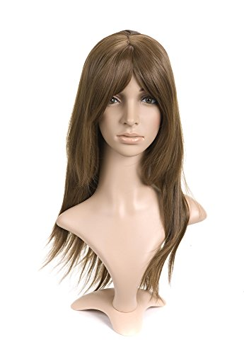 Golden Brown with Long Bangs Medium Length Anime Cosplay Costume Wig