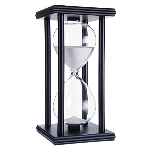 Tanmalan hourglass sand timers (White sand,black frame,60min)