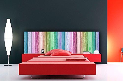 Cabecero Cama PVC Impresión Digital | Textura Imitación Madera Arco Iris 200 x 60 cm | Cabecero Original y Económico
