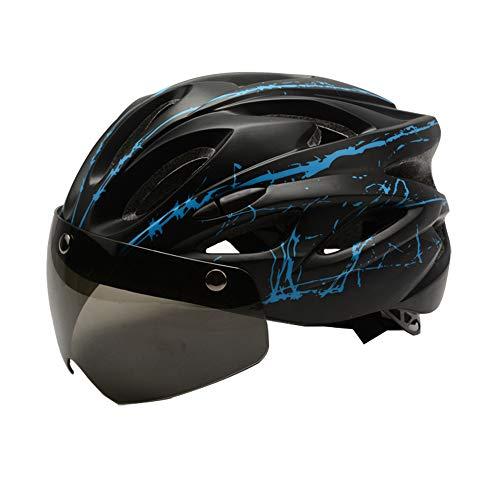 RENNICOCO Casco de Bicicleta, Casco de Ciclismo Estándar de Seguridad Ajustable Casco de Escalada de Bicicleta Casco de Bicicleta Casco de Ciclismo de Bicicleta con Gafas