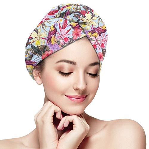 QHMY Enveloppe De Serviette De Cheveux en Microfibre pour Les Femmes Serviette De Séchage des Cheveux avec Bouton Séchage Rapide Tête Magique Turban 11 'x28' Fleurs Exotiques Oiseau