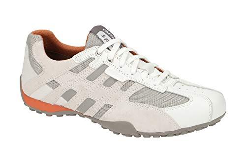 Geox Hombre Zapatos de Cordones UOMO Snake, de Caballero Calzado Deportivo,Zapato con Cordones,Calzado de Exterior,Ocio,Optic White,48 EU / 13 UK