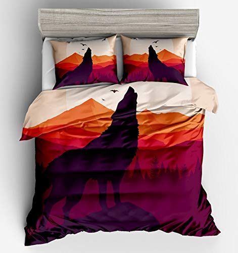 MGORJGR King Wolf Duvet Cover Queen Bedding Quilt Cover Sets Twin Full Queen King Size with Pillowcase Kids Children Baby Touched