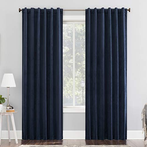 "Sun Zero Hampshire Velvet Noise Reducing Thermal Extreme 100% Blackout Back Tab Curtain Panel, 50"" x 84"", Navy Blue"