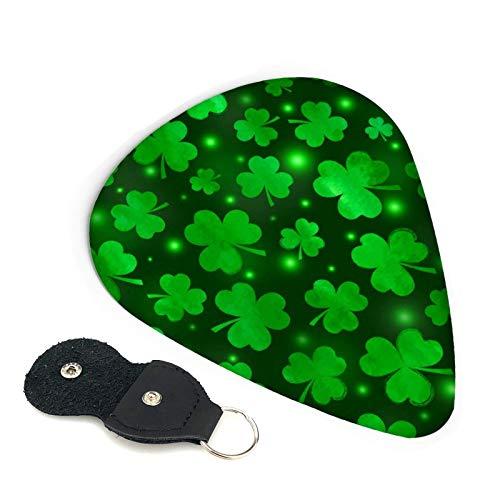 St Patrick's Day Lucky Shamrock Illuminate púas de guitarra, paquete de 6, adecuadas para guitarra, ukelele, bajo, guitarra eléctrica