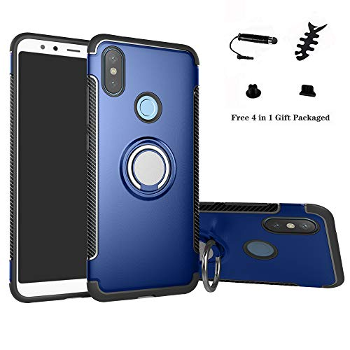 LFDZ Xiaomi Redmi Note 6 Anillo Soporte Funda 360 Grados Giratorio Ring Grip con Gel TPU Case Carcasa Fundas para Xiaomi Redmi Note 6 / Redmi Note 6 Pro Smartphone (Not fit Redmi 6),Azul