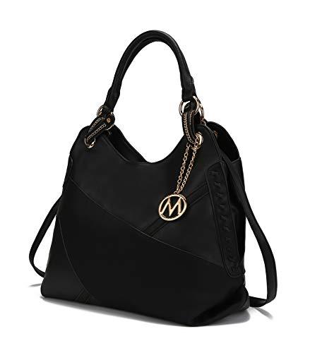 Mia K. Collection Crossbody Hobo Bags for Women - Tote Shoulder Bag - PU Leather Womens Purse - Top Handle Pocket Book Handbag Black
