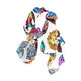 Rootti - Bufanda para mujer, diseño de dona, de chifón, elegante, suave, de poliéster transparente, de gran tamaño, para niñas y mujeres