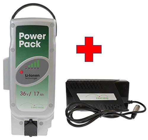 Akkuman.de Set E-Bike Vision Power Pack Reserveaccu voor Panasonic aandrijfsysteem 36V 17Ah 612 Wh + 4A oplader