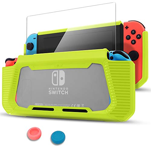 Pakesi Case for Nintendo Switch, Compatible with Nintendo Switch Cover Case with Tempered Glass Screen Protector (Rubber + PC Transparent Back Cover)-Green