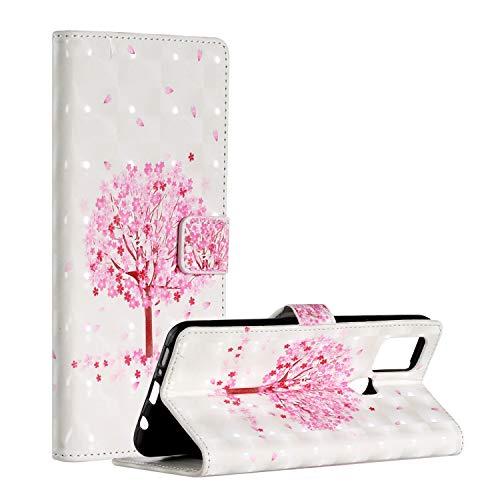 QFUN Leder Hülle für Samsung Galaxy A21S mit Kartenfach,Glitzer Muster [Kirsche Baum] Magnetverschluss Ständer Schutzhülle Fallschutz Handyhülle Schutztasche und Displayschutzfolie