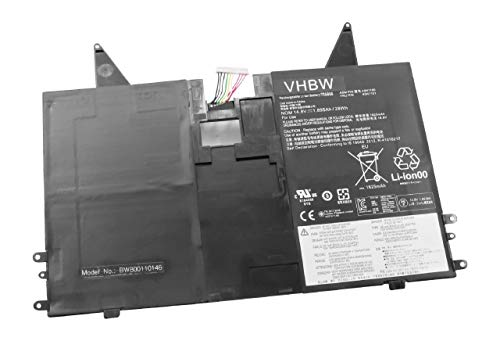 vhbw Li-Polymer Batterie 1850mAh (14.8V) pour Netbook Pad Tablette Lenovo Thinkpad X1 Helix comme 45N1100, 45N1101.