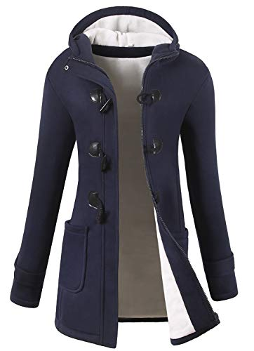 VOGRYE Womens Winter Fashion Outdoor Warm Wool Blended Classic Pea Coat Jacket (7 Days delivery or Refund) (2XL, Navy-Thicker)