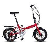Bicicleta Plegable de 16 Pulgadas Hombres y Mujeres Modelos Ligero Bicicleta Plegable Bicicleta Adulta Mini Velocidad Coche Doble Disco Freno Bicicleta Plegable ( Color : RED , Size : 150*30*96CM )