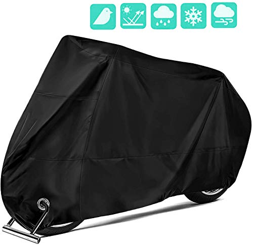 OVERWIND Motorcycle Cover 190T Nylon Waterproof Motorbike Dust Cover  Anti Rust Rain Snow UV Protection with LockHoles Fit for All Motorcycle Black
