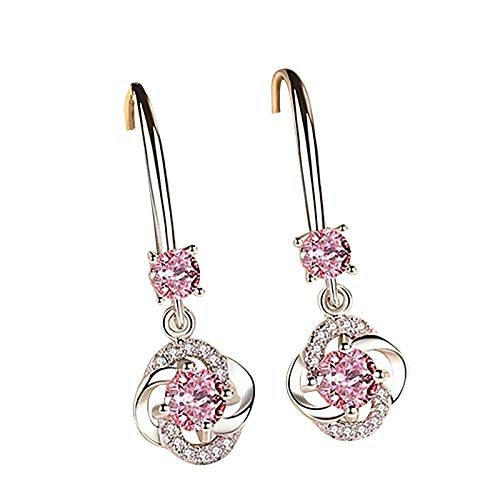 jieGorge diamond-studded creative earrings temperament long four-leaf, Earrings, Products for Christmas Day (Pink)
