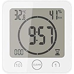 FCYQBF Digital LCD Electronic Ambient Humidity Meter Hygrometer Weather Station Aquarium Bathroom Indoor with Alarm Clock,White