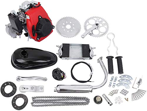 PEXMOR 4-Stroke 53cc Bicycle Motor Kit Motorized Bike Cycle Gasoline Petrol Gas Engine Refit Kit, Super Fuel-efficient for Bicycle Scooter (53cc (Red))